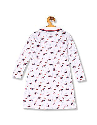 U.S. Polo Assn. Kids Girls Long Sleeve Printed Polo Dress