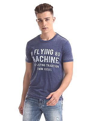 Flying Machine Distressed Printed T-Shirt