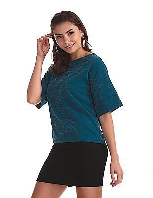 Cherokee Green Drop Shoulder Lurex Knit Boxy Top