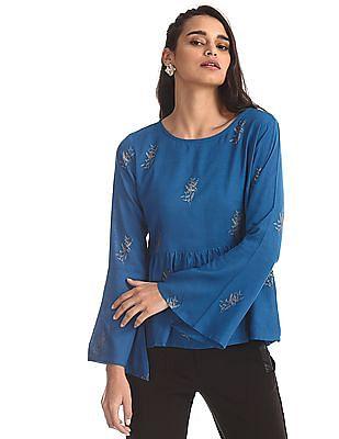 Bronz Blue Bell Sleeve Printed Top