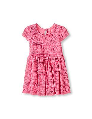 The Children's Place Toddler Girl Pink Short Sleeve Ruffle Lace Flare Dress