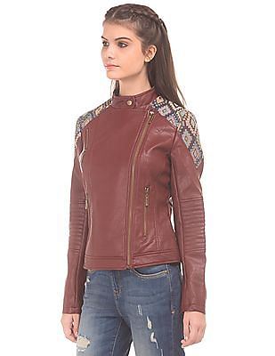 EdHardy Women Contrast Panelled Biker Jacket