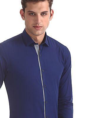 Arrow Newyork Blue Snug Skinny Fit Solid Shirt