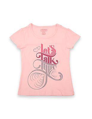 Cherokee Girls Printed Round Neck T-Shirt