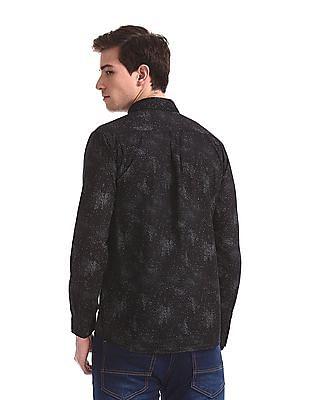 Newport Black Spread Collar Printed Shirt
