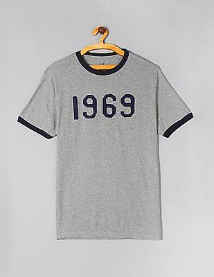 GAP Men Grey 1969 Applique Ringer T-Shirt