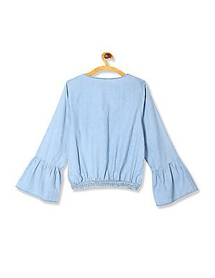 Aeropostale Blue Wrap Front Chambray Top