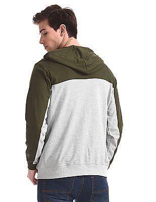 Colt Green Colour Block Hooded Sweatshirt