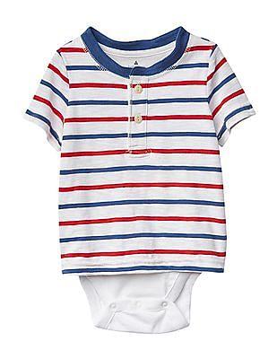 GAP Baby White Americana Stripe Henley Body Double