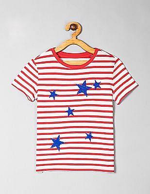 GAP Red Girls Sequin Striped T-Shirt