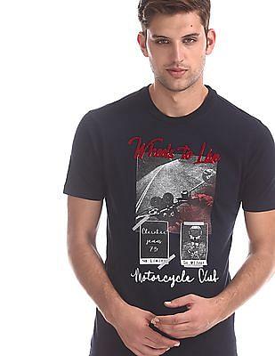 Cherokee Blue Ribbed Neck Cotton T-Shirt