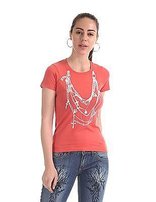 Flying Machine Women Crew Neck Printed T-Shirt