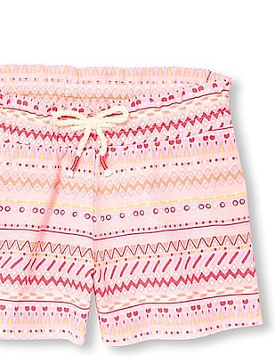 The Children's Place Girls Pink Matchables Printed Knit Shorts