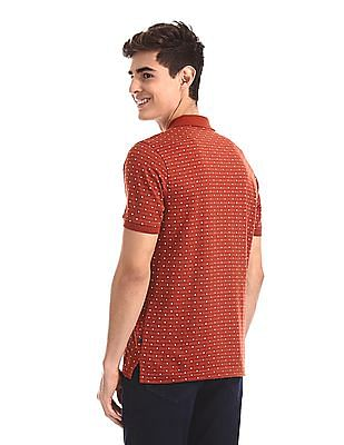 Ruggers Brown Patterned Pique Polo Shirt