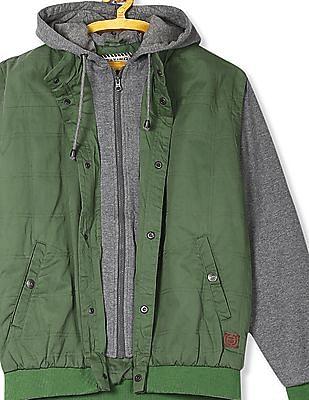 Flying Machine Hooded Colour Block Jacket