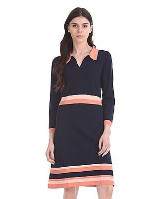 Nautica Stripe Polo Sweater Dress