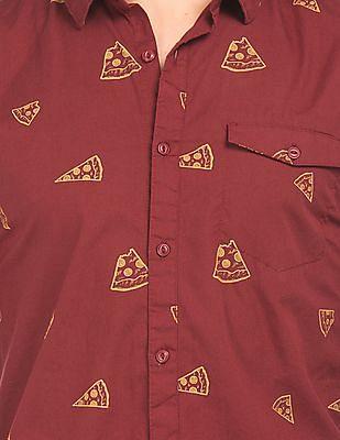 Colt Pizza Print Slim Fit Shirt