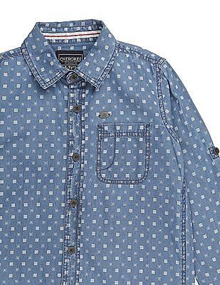 Cherokee Boys Long Sleeve Printed Shirt
