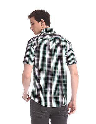 Arrow Sports Green Manhattan Slim Fit Check Shirt