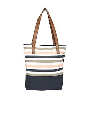 SUGR Striped Cotton Tote Bag
