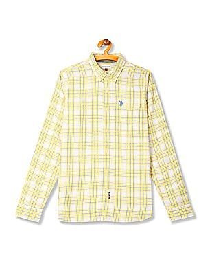 U.S. Polo Assn. Kids Boys Button Down Collar Check Shirt