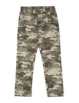 FM Boys Boys Camouflage Print Slim Fit Trousers