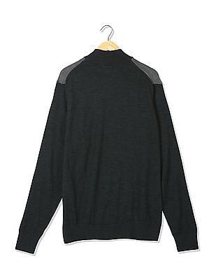 Arrow Sports Half Zip Colour Block Sweater