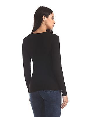 Elle Studio Black Ribbed Long Sleeve Top