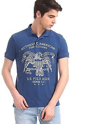 U.S. Polo Assn. Denim Co. Blue Printed Front Polo Shirt