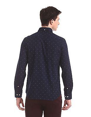 Arrow Sports Blue Slim Fit Printed Shirt