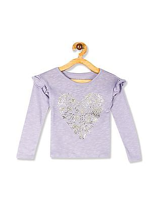 The Children's Place Baby And Toddler Girl Purple Long Ruffle Sleeve Foil Graphic Knit Top