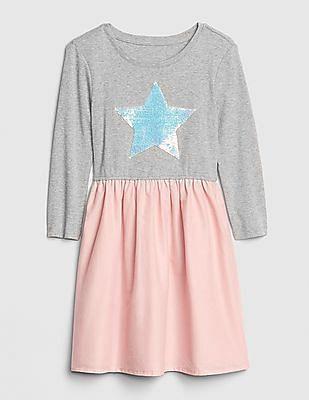 GAP Girls Flippy Sequin Mix-Fabric Dress