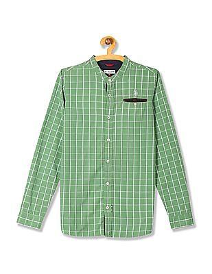 U.S. Polo Assn. Kids Boys Mandarin Collar Check Shirt