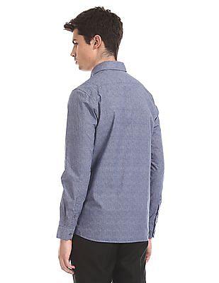 Arrow Newyork Blue Cutaway Collar Printed Shirt
