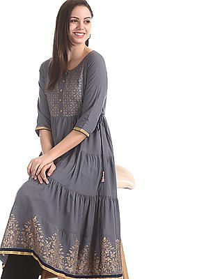 Anahi Grey Tiered Printed Kurta