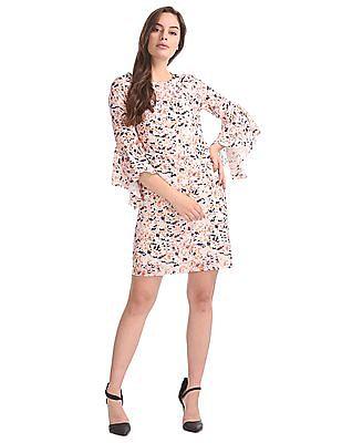 Elle Studio Bell Sleeves Printed Shift Dress