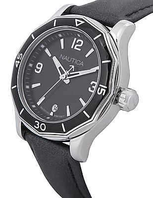 Nautica Leather Strap Analog Watch
