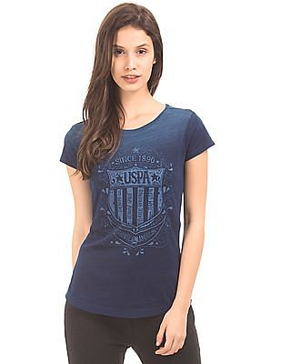 U.S. Polo Assn. Women Brand Print Washed T-Shirt