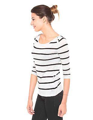 U.S. Polo Assn. Women Striped Knit Top