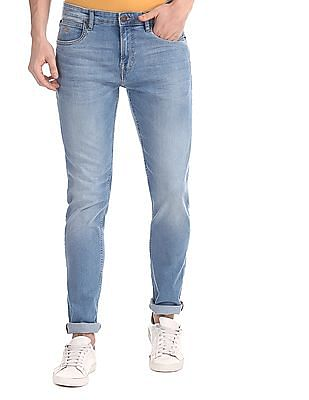 Arrow Sports Blue Mid Rise Stone Wash Jeans