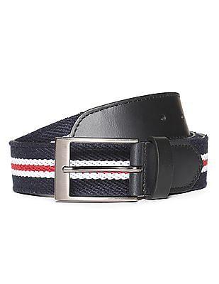 U.S. Polo Assn. Striped Leather Trim Belt