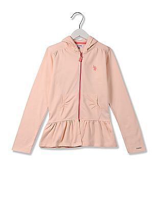 U.S. Polo Assn. Kids Girls Hooded Sweatshirt
