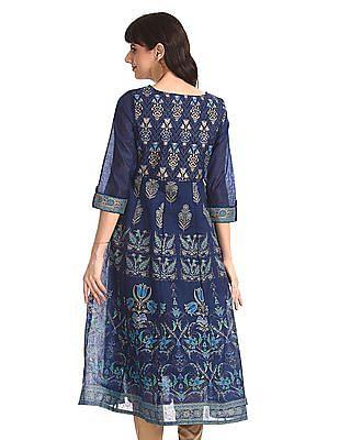 Anahi Blue Floral Print Kalidar Kurta