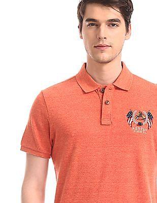U.S. Polo Assn. Denim Co. Orange Melange Knit Solid Polo Shirt