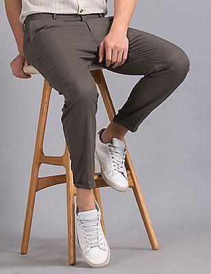 True Blue Brown Patterned Crop Trousers