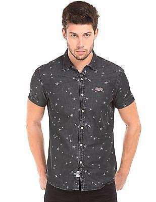 Cherokee Star Print Chambray Shirt