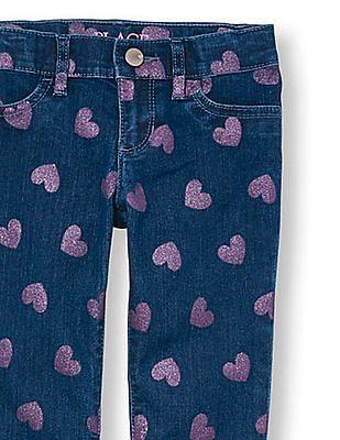 The Children's Place Girls Glitter Heart Printed Denim Jeggings