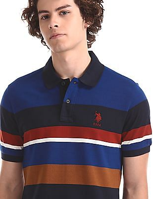 U.S. Polo Assn. Blue Striped Pique Polo Shirt