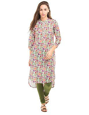 Karigari Floral Print High Low Hem Kurta