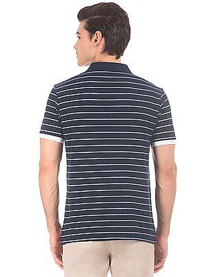 Arrow Sports Striped Pique Polo Shirt